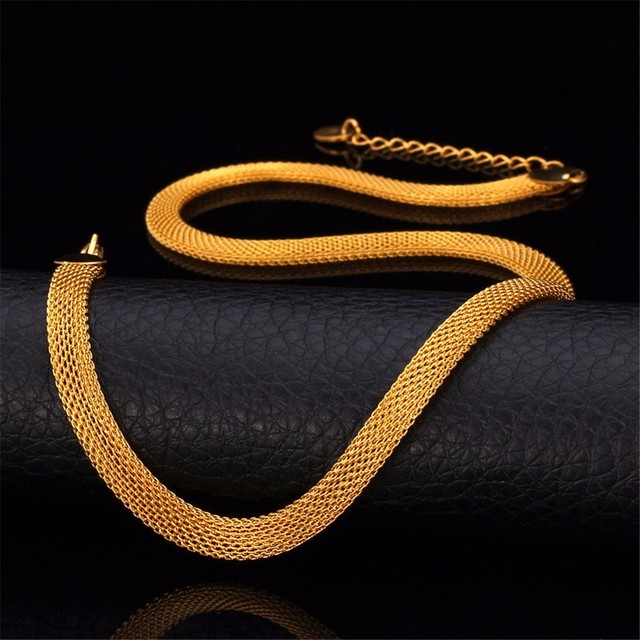 Collare Mesh Chain Necklace For Men Jewelry Gold Silver Stainless Steel Men Necklace Chain Link Wholesale 6mm Wide N652