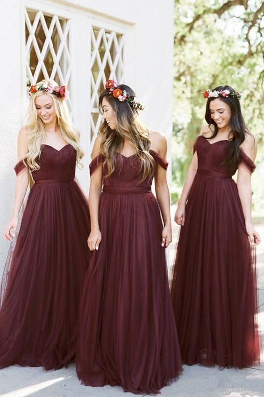 Burgundy 2019   Bridesmaid     Dresses   For Women A-line Off The Shoulder Tulle Long Cheap Under 50 Wedding Party   Dresses