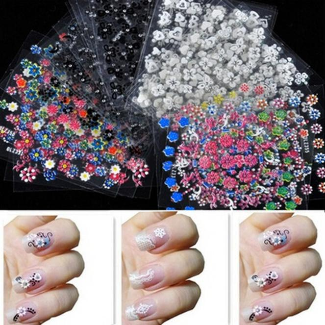 30PCS Flower Design Nail Art Accessories Tips Stickers Decals ...