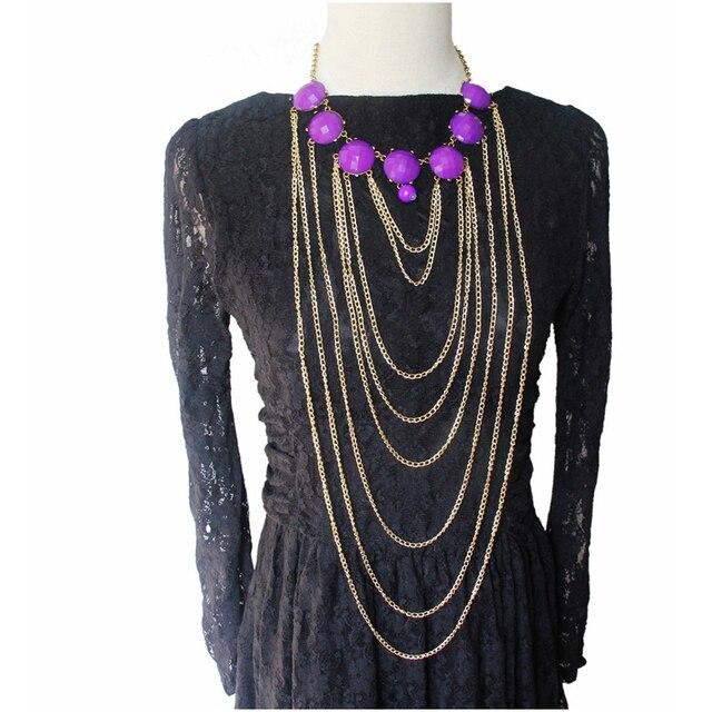CirGen модное золотистое женское многослойное ожерелье с цепочкой и кисточкой, колье из смолы, массивное ожерелье с воротником, ювелирное изделие, C99