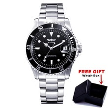 WINNER Brand Men Date Stainless Steel Luxury Automatic Mechanical Watch