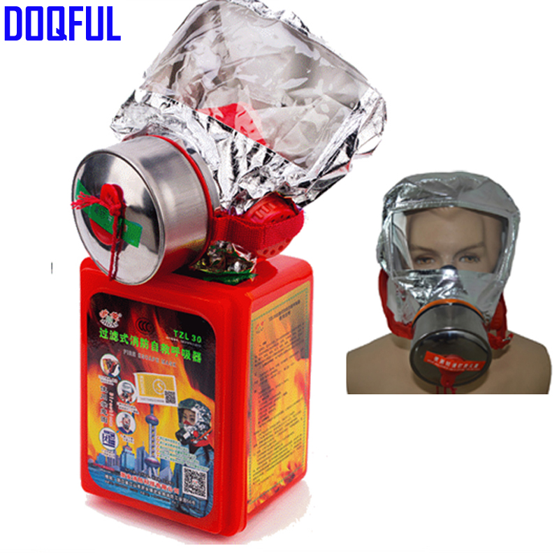 30 Minutes Smoking Mask Smoke Fire Escape Mask Emergency Hood Oxygen Gas Masks Respirators new 2018 catalyst desiccant fire escape mask emergency hood oxygen gas masks respirators 30 minutes smoke toxic filter gas mask