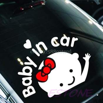 Baby In Car Cute Waving Baby On Board Safety Sign Auto Car Decal / Sticker image