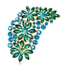 Cheap Wholesale 6pcs Lot Fashion Crystal Rhinestone Leaf Brooch Pin Jewelry  Brand Vintage Large Long 94526e8feef3