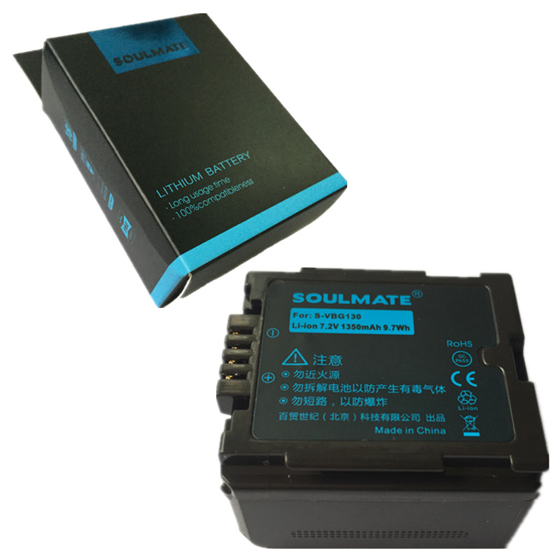 SOULMATE VW-VBG130 lithium batteries pack VWVBG130 Digital Camera Battery VW VBG130 For <font><b>Panasonic</b></font> <font><b>SDR</b></font>-<font><b>H80</b></font> HDC-DX5 HDC-TM20 image