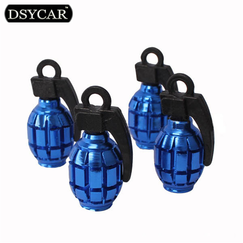 * DSYCAR 4pcs lot Universal Grenade Bike Moto Car Tires Wheel Valve Caps dust Cover Car Styling for Fiat Audi Ford Bmw Lada jeep