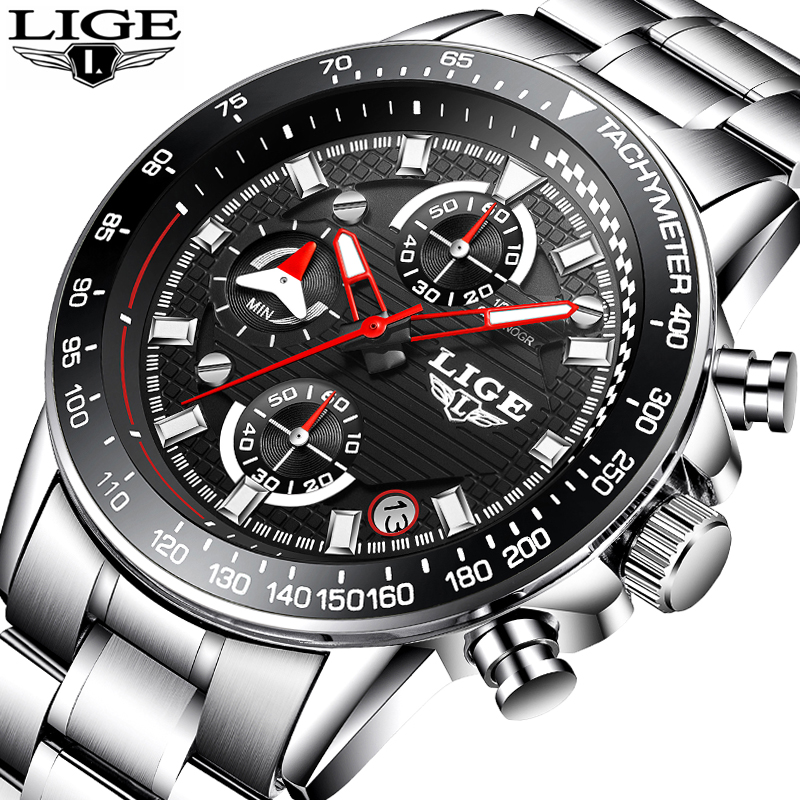 Relogio Masculino Mens Watches LIGE Top Luxury Brand Business Fashion Quartz Watch Sports Casual Full Steel Waterproof Clock+Box