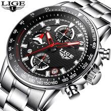 Relogio Masculino Mens Watches LIGE Top Luxury Brand Business Fashion Quartz Wat