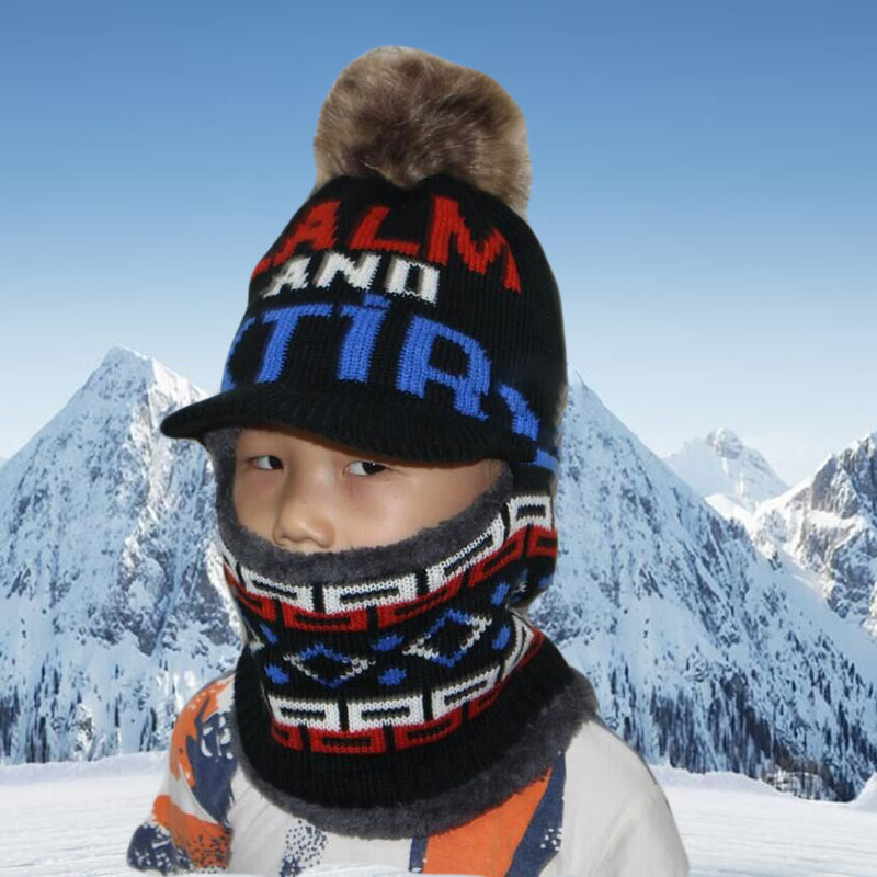 BING YUAN HAO XUAN Winter Boy Girl Scarf Knitted Hat Skullies Winter Hats Caps For Boy Hats Mask Balaclava Bonnet Hats 2018