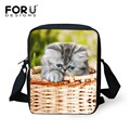 FORUDESIGNS Cute Animal Cate Printing Messenger Bags for Women Fashion Crossbody Bags Kids Travel Shoulder bag