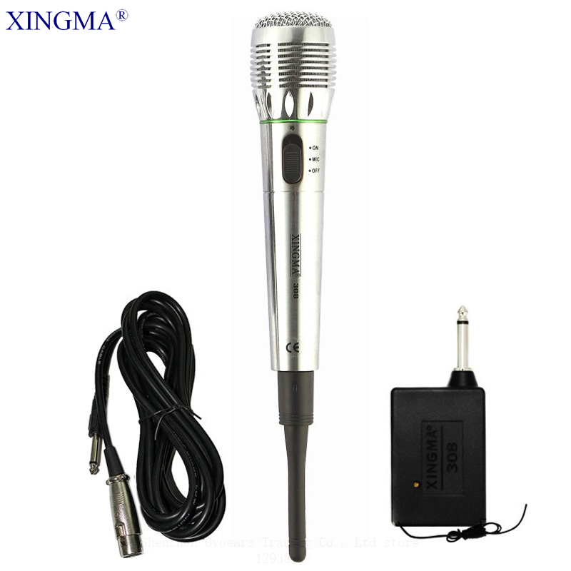 XINGMA AK-308 Dynamic Wireless Microphone Wired And Wireless Microphone With Receiver Professional Handheld Mic For Karaoke KTV professional wireless microphone karaoke digital led display handheld microfone with receiver transmitter set for ktv home