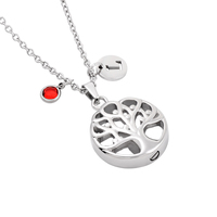 IJD8032 Life Tree Paw Print Heart Butterfly Moon Waterdrop Hummingbird Cremation Urn Pendant Necklace For Human