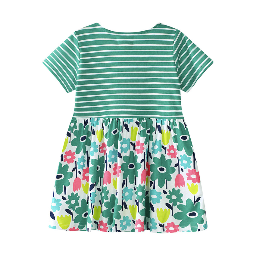 Belababy Summer Baby Girls Dresses 2018 New O-Neck Short Sleeve Printed Cotton Striped Princesse Birthday Party Dress For Girl
