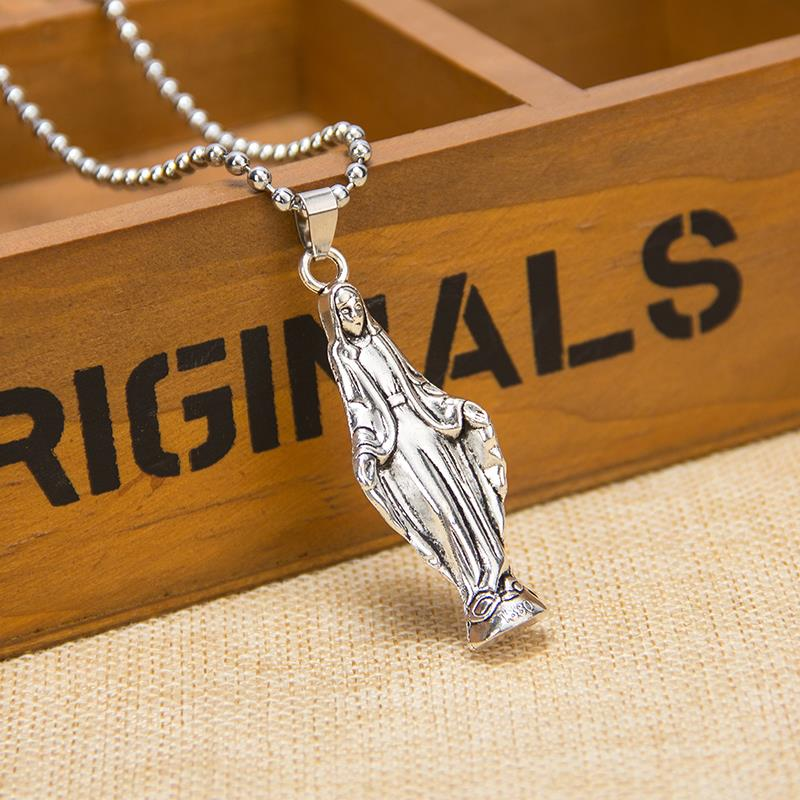 New Virgin Mary Necklace Silver 2015 Real Female / Male Silver-plated Jewelry Pendant Christian Jesus The Cross Piece