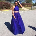 2016 Two Piece Prom Dresses Halter Beading Top Royal Blue Tulle Prom Dress Keyhole Back Prom Gowns High School Party Gowns
