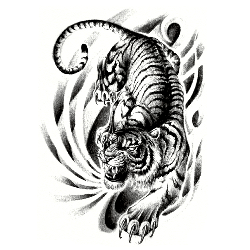Tattoo Art Black And White: Full Back Large Tiger Down The Mountain Waterproof