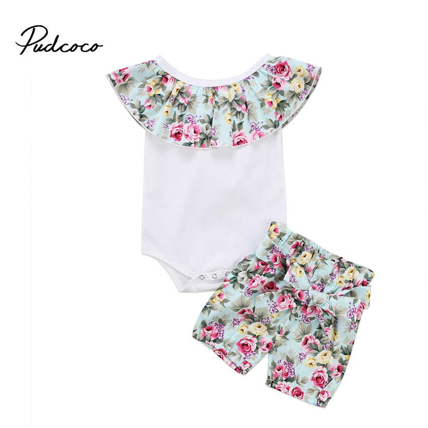 Hot sell Newborn Infant Baby Girls Clothes Sleeveless Romper Jumpsuit Tops +Floral Shorts 2Pcs Outfit Clothes Set