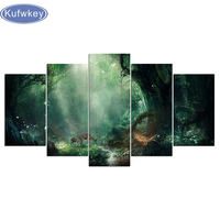 diy 5d diamond painting Home Decor 5 Pieces Fresh Magic Forest Paintings full square diamond embroidery Deers,diamond mosaic
