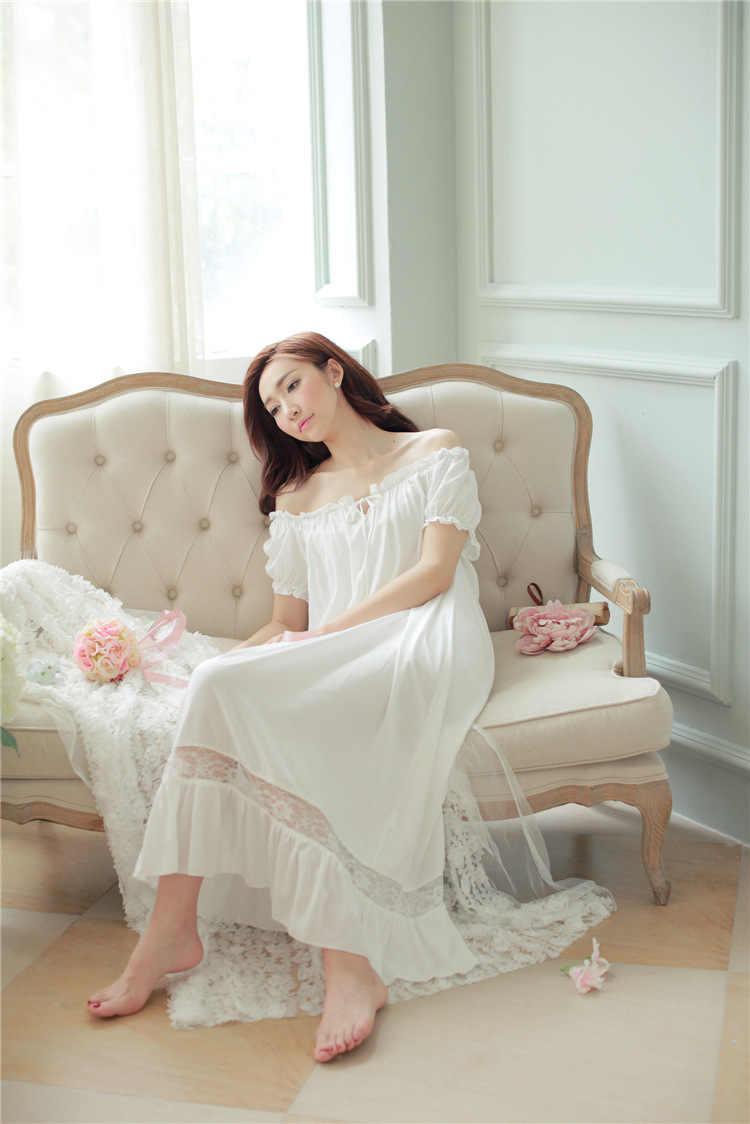 8c19ba648f ... Hot Womens Long Sleeping Dress White Nightgown Short Sleeve Summer Nightdress  Elegant Vintage Nightgowns Home Dress ...
