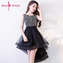 88493c9ef Belleza Emily Venta caliente cariño vestidos de noche corto prom vestidos  elegante organza alto bajo vestido de fiesta
