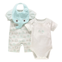 New Baby Boy Clothing Set Summer Baby Cotton Bodysuit Elephant Printed Romper Animal Bibs 3pcs Set