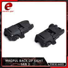 цены 2 Pcs/lot Element Airsoft Tactical Mag Pul Folding Flip Back-up Sight Set Front Rear eMBUS Rail GEN 3 Folding Stock Adapter