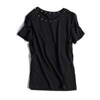 European Fashion T Shirts 2017 Summer Short Sleeve Cotton O Neck Breif New Fashion Rivet Hot