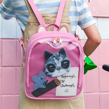 Women backpack Candy Color Transparent Bag Lovely Ita bag Cat Ear PU Leather Backpacks Women Bags for Schoolbags Teenage Girls