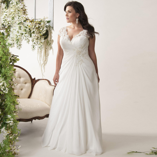 Plus Size Wedding Dresses V-neck Cap Sleeves Robe de Mariage 2019 Sweep Train Appliqued Chiffon Bridal Gown with Beads