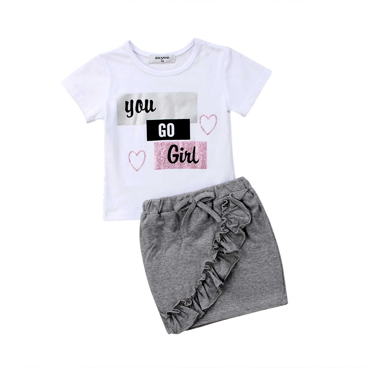 Модные топы с буквенным принтом для маленьких девочек; футболка; мини-юбка; комплект с платьем; одежда