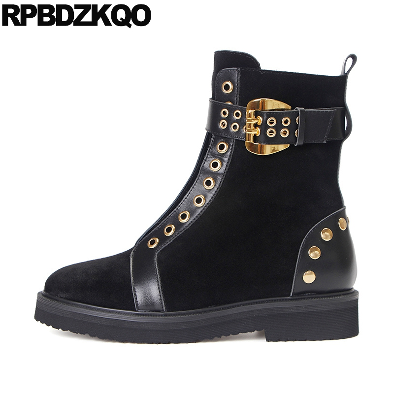Black Ankle New Flat Metal Fur Mid Calf Shoes Brand Women Winter Boots Genuine Leather High Quality Booties Rivet 2017 Female women martin boots 2017 autumn winter punk style shoes female genuine leather rivet retro black buckle motorcycle ankle booties