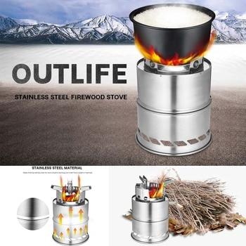 Outlife estufa de madera portátil plegable de acero inoxidable estufa de leña horno al aire libre estufa cocina quemador Picnic Camping caza