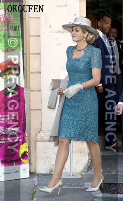 Lace Mother of the Bride Dresses 2019 Vintage Square Knee Length Short Sleeves vestido de madrinha farsali Custom Make 2