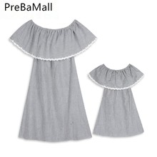 Mother And Daughter Summer Dress Family Matching Outfits Off Shoulder Boho Loose Dresses Girl Women Sundress Clothes C45