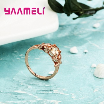 Wholesale Micro AAAA Prong Setting Cubic Zirconia Finger Rings For Women Female Crystal Jewelry Present Rose Gold Color 4