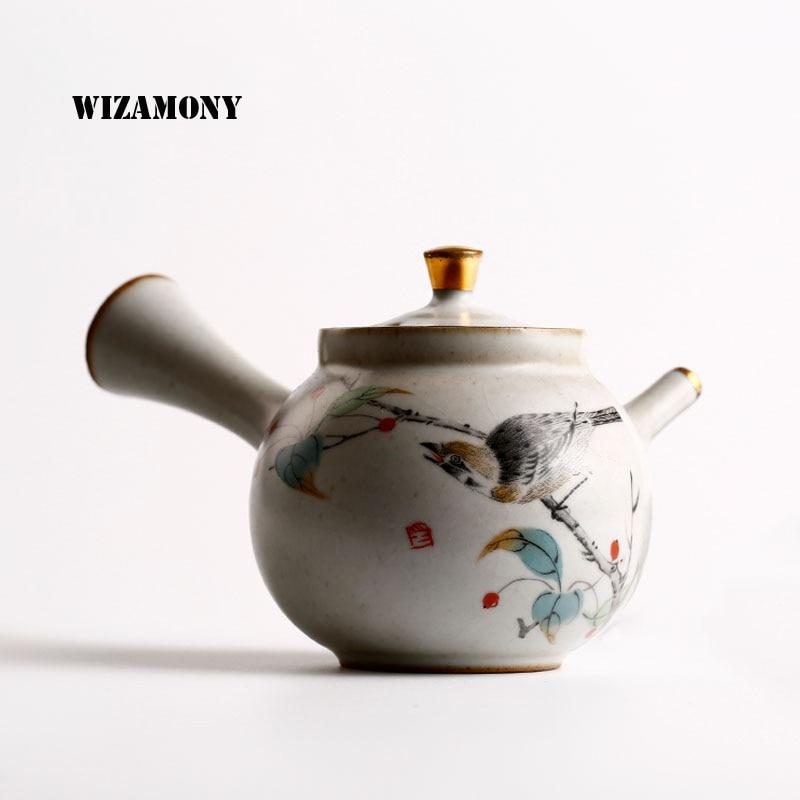 WIZAMONY 새로운 차 세트 Crackle Glaze 청자 Zisha 도예 예술 Tay Thi 중국 차 주전자 도자기 yixing 클레이 골동품 주전자