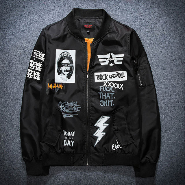4867c480320 2017 Autumn New Men s Clothing Graffiti rock and roll motorcycle jacket  Coat Thin Bomber MA1 man