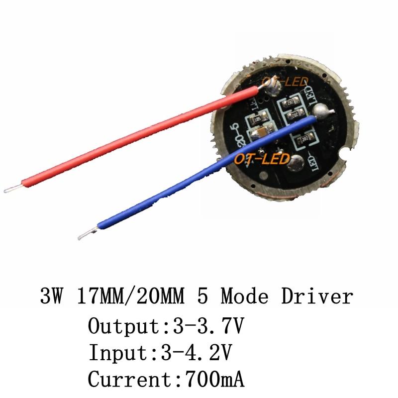 1PCS 10PCS Cree XRE-Q5/XPE XP-E /XBD XB-D Driver 17mm 20mm DC3-4.2V 700MA 5 Mode LED Driver For 3W LED Light Diode Emitter