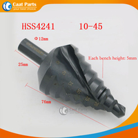 10 45mm 8 steps HSS Nitriding Black Step Drill Bit Triangle Shank Spiral Groove Core Drill Bits Industrial Reamer Metal Hole Saw