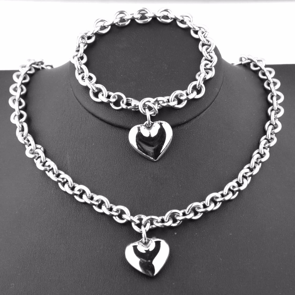 8mm Wide Polishing Silver Color O Word Chain Girl's Women's Charm Heart Stainless Steel Bracelet&Necklace Jewelry Set