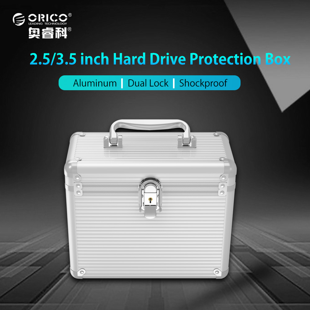 ORICO Aluminum 5 & 10 bays 3.5 inch Hard Drive Protection Box Storage with Locking(not including HDD) - Silver
