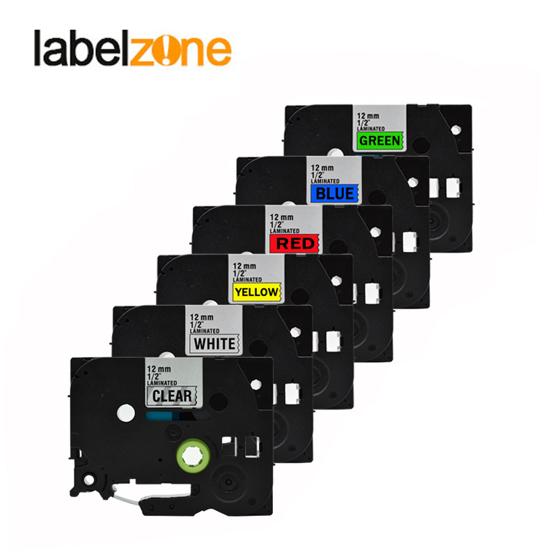 6pack mixed 6 colors tze tape compatible brother Tze231 tze-231 tze 231 tze131 tze431 tze531 tze631 tze731 for p-touch printers цены