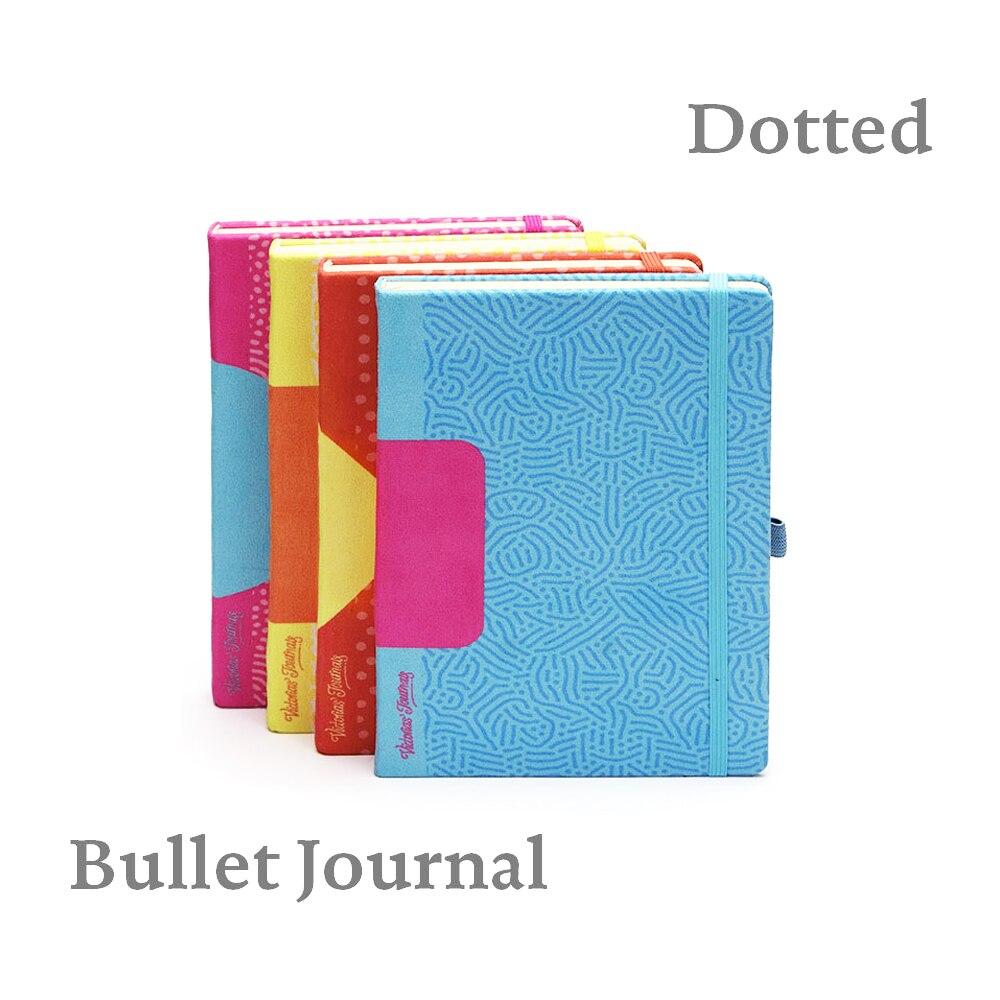 Pointillée Cahier À Couverture Rigide Geo Couleurs Textile avec Élastique Non Daté Journal de Voyage Bullet Journal Bujo