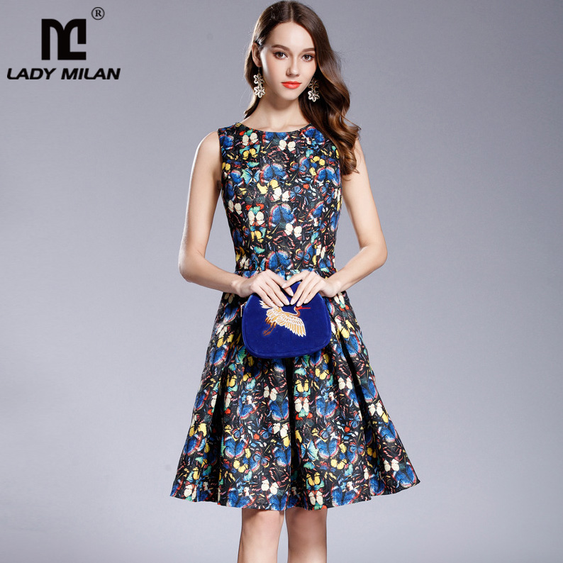 New Arrival Womens O Neck Sleeveless Floral Printed Jacquard Elegant Casual Dresses Fashion Designer Ruched Runway Dresses