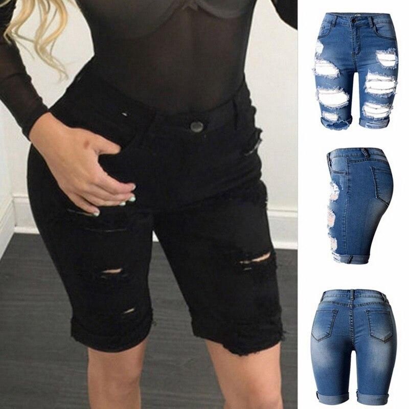 MoneRiff 2019 High Waist Elastic Sexy Women Summer Hole ShortS Pant Denim Shorts Half Ripped Zip Fly   Jeans   Trouser Drop Shipping