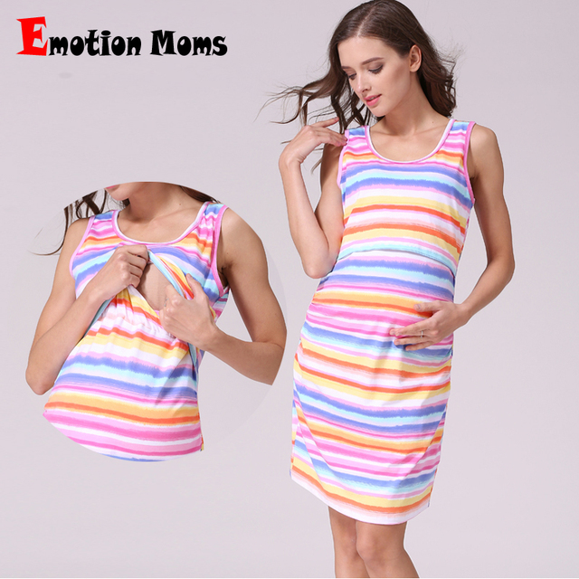 bf3274ed4ef8 Emozione mamme sleeveless di estate di maternità vestiti di maternità  allattamento vestiti per le donne incinte
