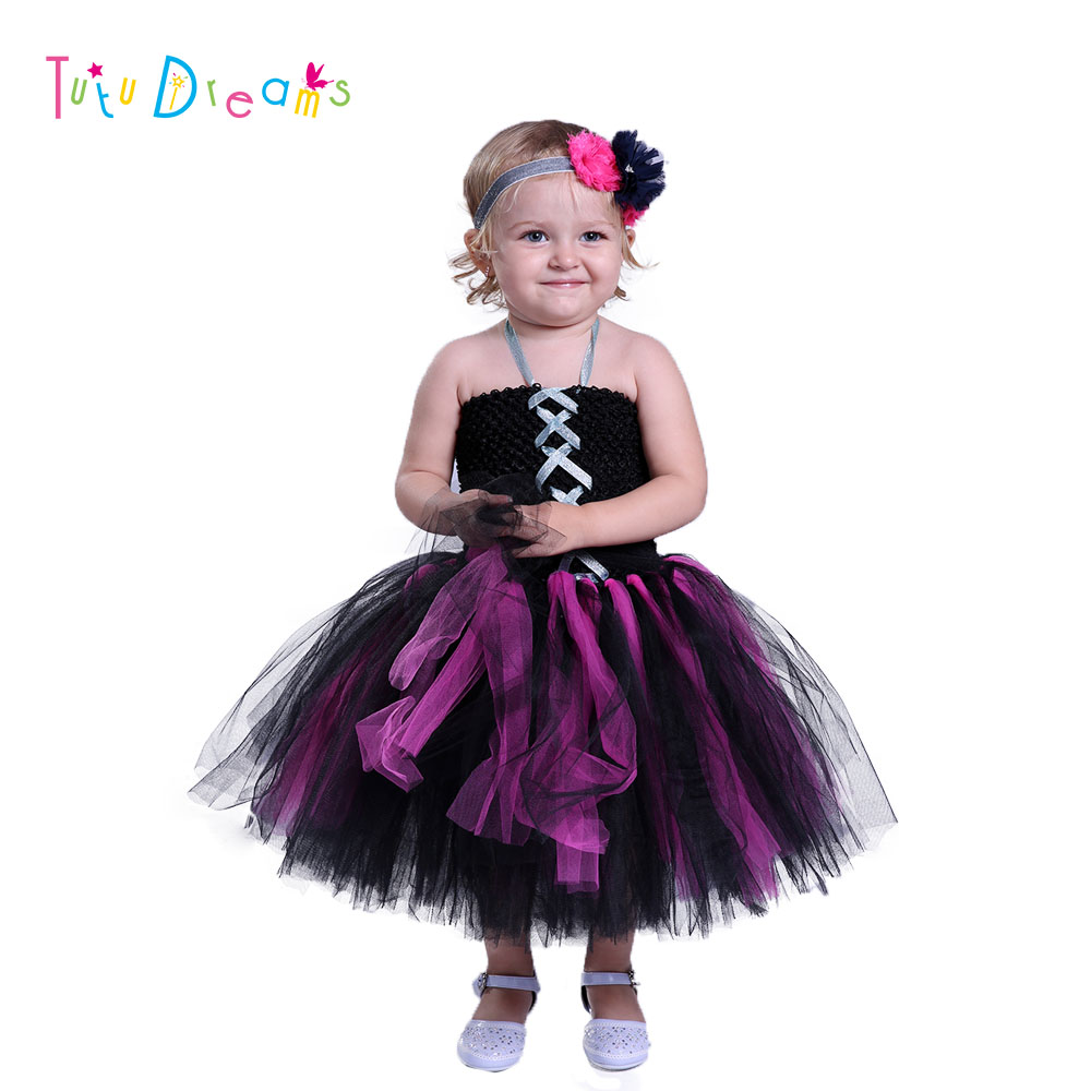 Little Witch Tutu Dress Black And Hot Pink Halloween Witch Girl Tutu