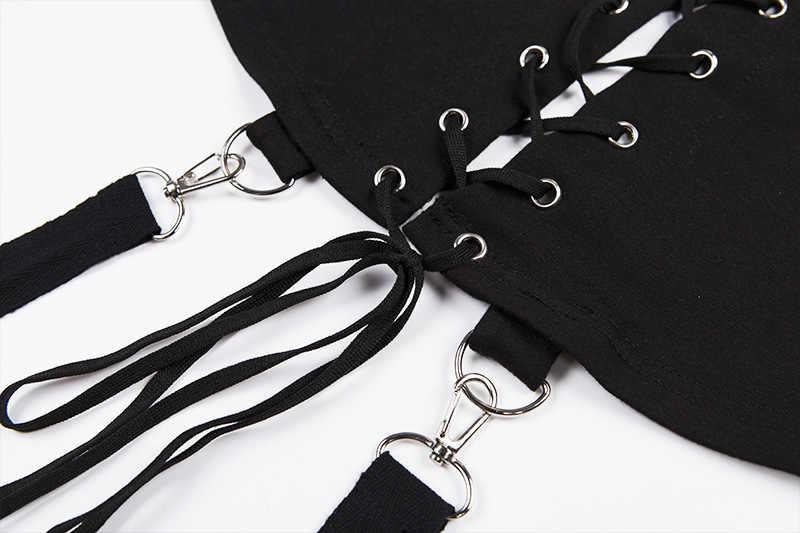 855f64d8b56 ... Черные короткие толстовки женские Крест повязки металла пуловер с капюшоном  Кофты Пастель Готический Мода гот красота