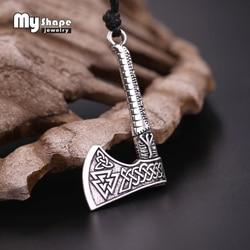 My shape 2018 NEW dropshipping 3D Axe Pendant Men necklace Scandinavian Viking Jewelry Odin 's Symbol Irish Knot Warrior