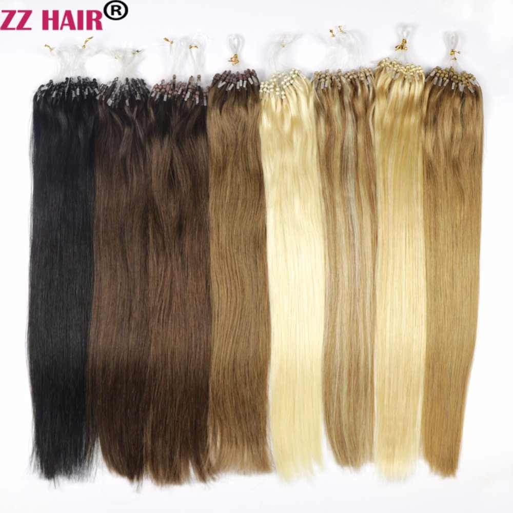 "ZZHAIR 1g/s 16""-22"" Machine Made Remy Loop Micro Ring Hair 100% Human Hair Extensions Capsule Keratin Bead Hair 50s/pack"